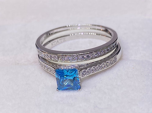 Double Band Silver Princess Aqua Stone Design 48