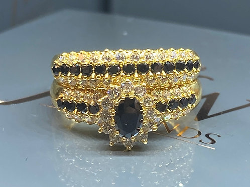 DOUBLE BAND 22CT YELLOW GOLD BLACK STONE