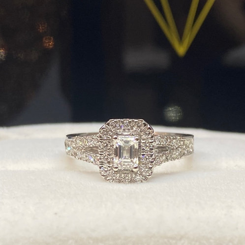 Emerald Cut Diamond Single Halo Y split Shoulders Design 98