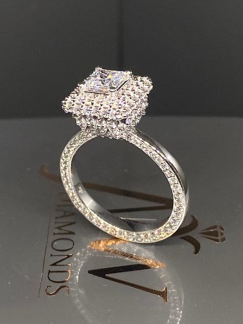 PRINCESS CUT DESIGNER HALO STUDDED 360 DEGREES DIAMOND RING