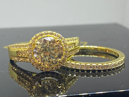 Design 33 14ct Gold Plated Ring Yellow  Round Stone