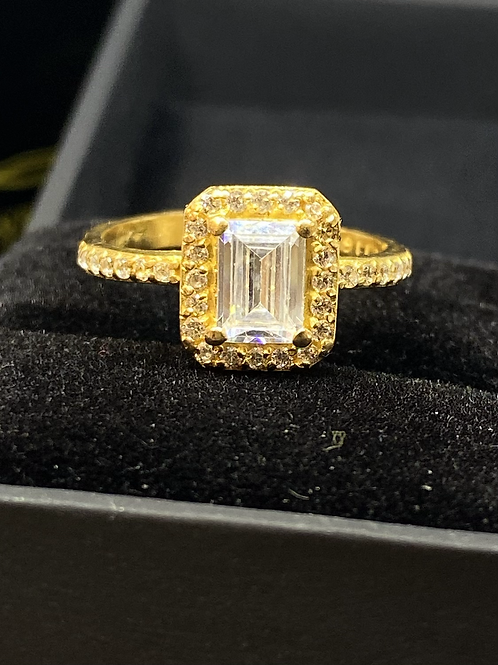 22 carat Gold Emerald cut with Halo