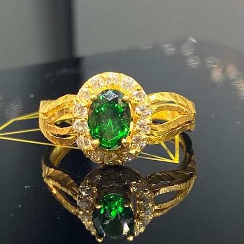Design 83 Green Stone 22 carat Gold Ring