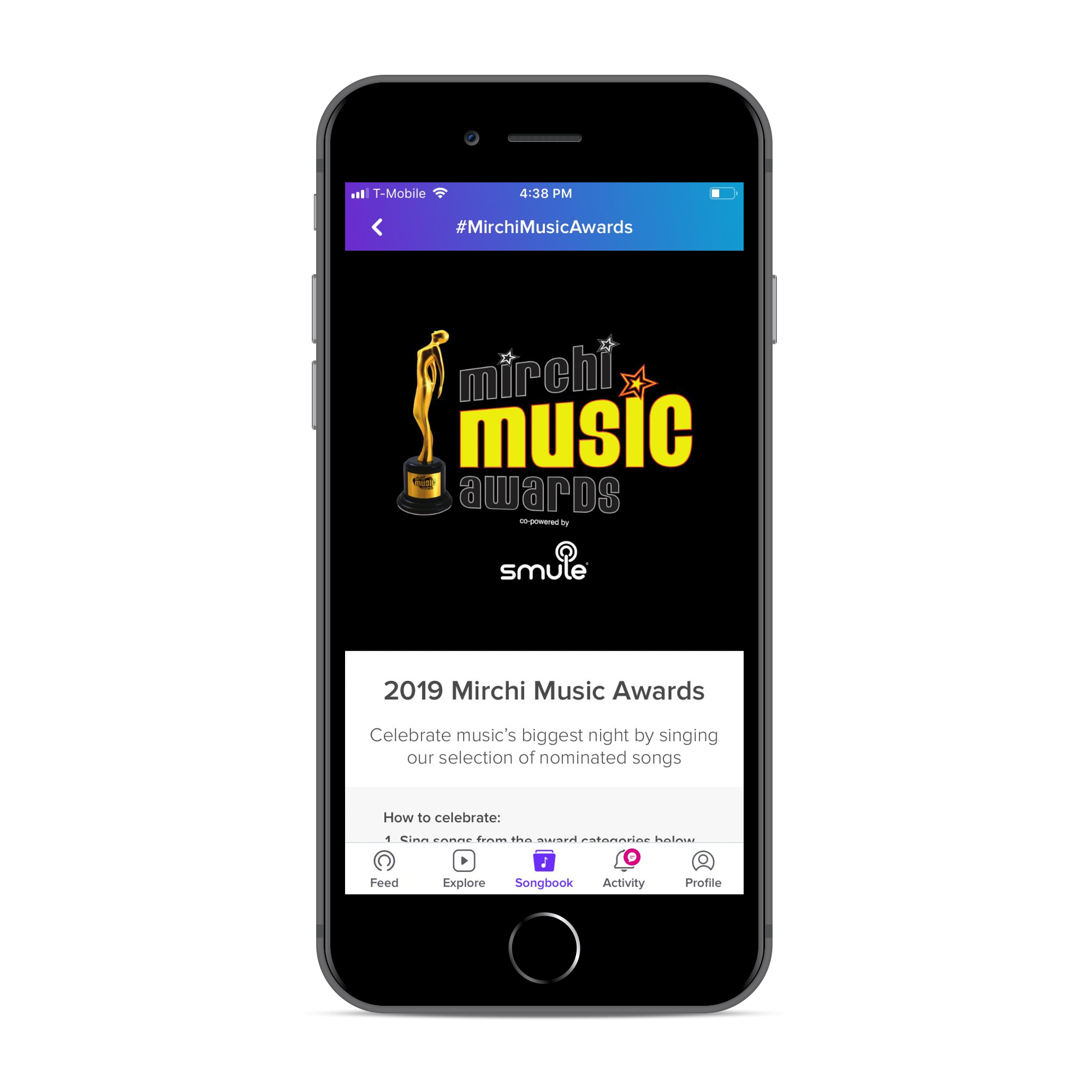 Smule app + Mirchi Music Awards