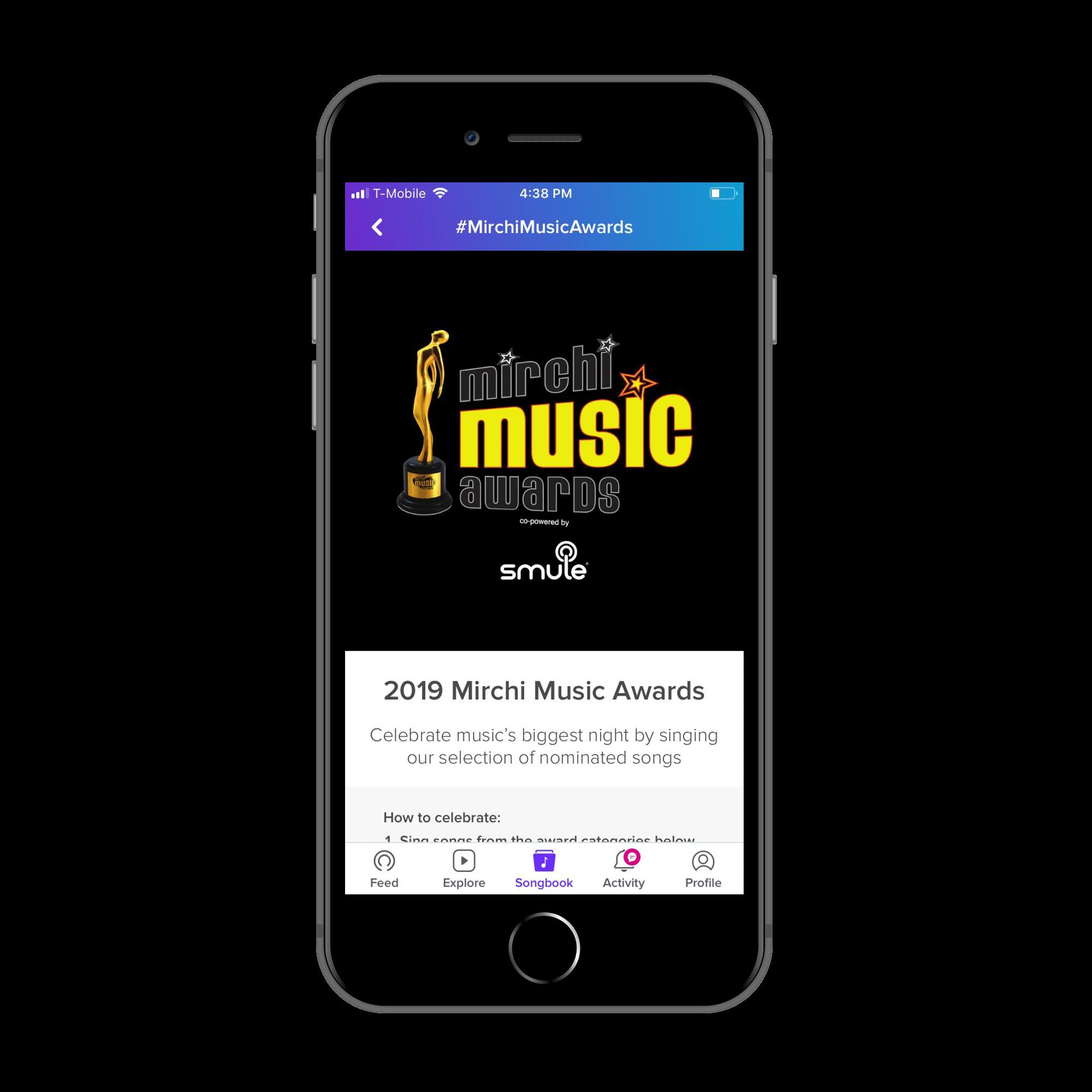 Smule app + Mirchi Music Awards