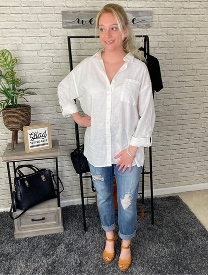 White Relaxed Fit Linen Blend Button Down Top
