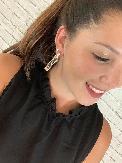 Leopard Bar Earrings