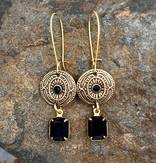 Antique Gold Vintage Style Swarovski Black Crystal Earrings