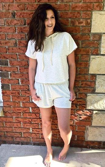 Fleece Shorts and Hoodie Lounge Set - Oatmeal