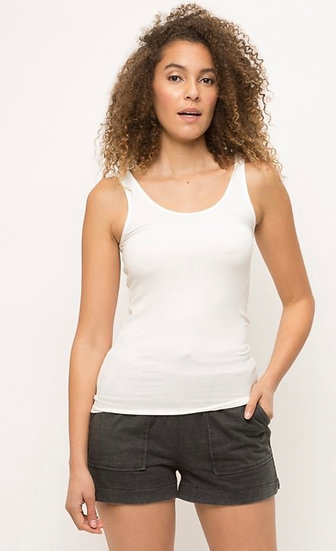 Off - White Basic Ribbed Tank Top