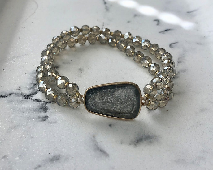 Gray Double Strand Crystal Bead Bracelet with Crackle Resin Accent