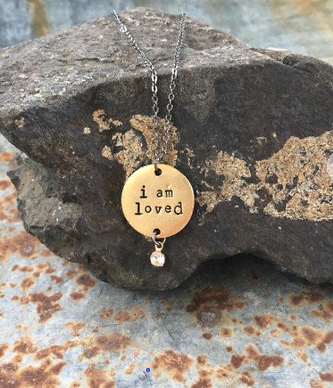 I Am Loved Statement Necklace - Gold Plated Disc