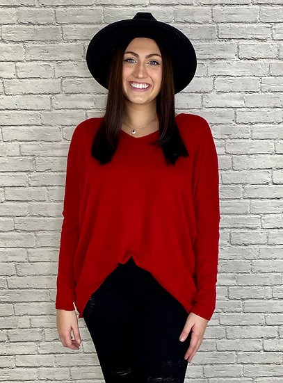 Red Sweater Tunic Top