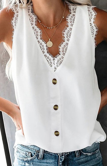 White Sleeveless Button Down Top with Lace Trim