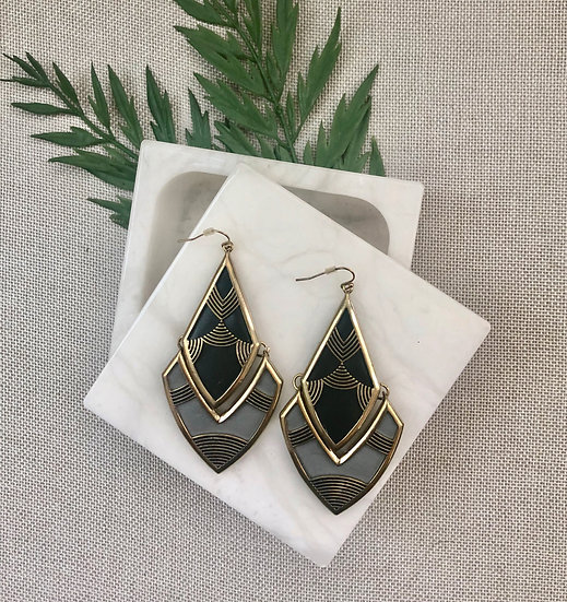 Black and Gray Chevron Texture Statement Earrings