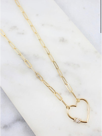 Heart Link Necklace - Silver or Gold tone