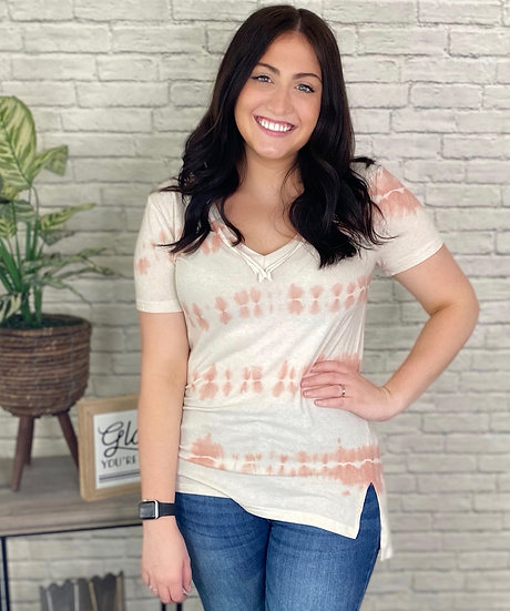 Ivory and Rose Tie Dye V-Neck Tee