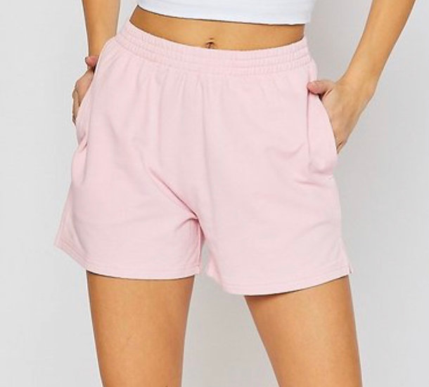 Pink Terry Casual Shorts with Pockets