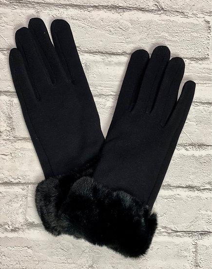 Black Faux Fur Trim Gloves - Touch Screen Friendly
