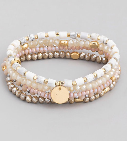 White/Taupe/Cream Stone Beaded Coin Stretch Bracelet