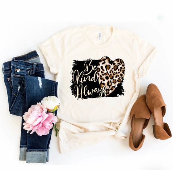 Be Kind Always Leopard Design Graphic Tee
