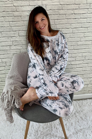 Marble Tie Dye Gray and White Lounge Set