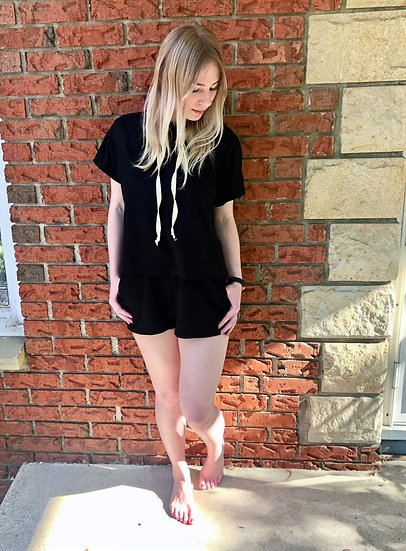 Black Loungewear Hoodie and Shorts Set