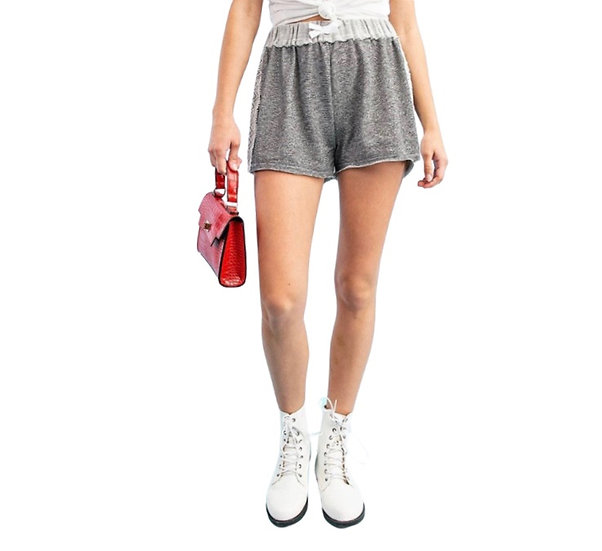 Stripe Terry Short with Side Lace Trim - Charcoal