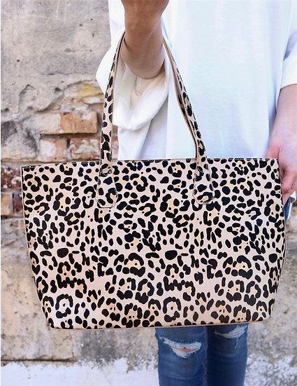 Cassie Leopard Print Shoulder Tote