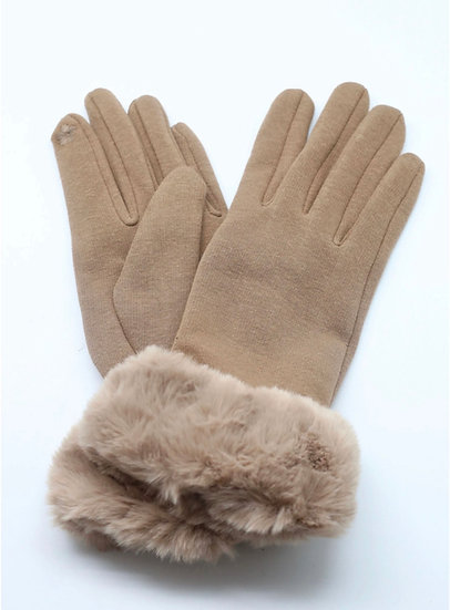 Taupe/Camel Faux Fur Trim Gloves - Touch Screen Friendly