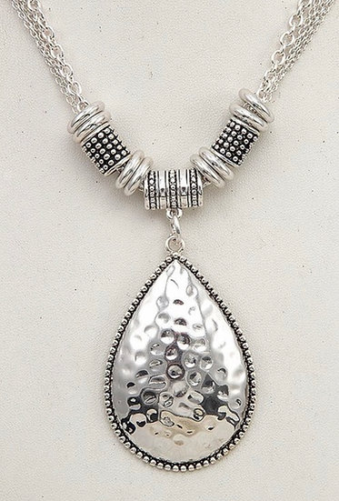Hammered Teardrop Pendant Necklace and Earring Set