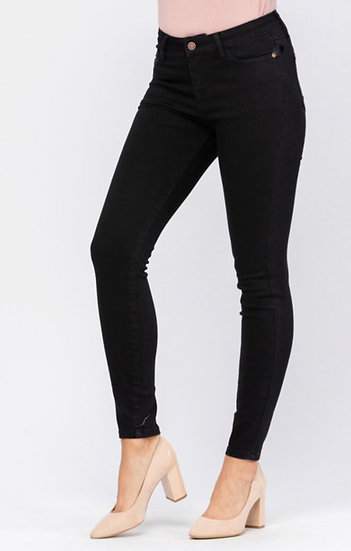 Mid Rise Stretchy Black Skinny Jeans