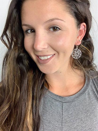 Round Swirled Drop Earrings