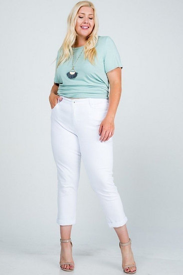 Plus Size High Waisted White Stretch Jeans