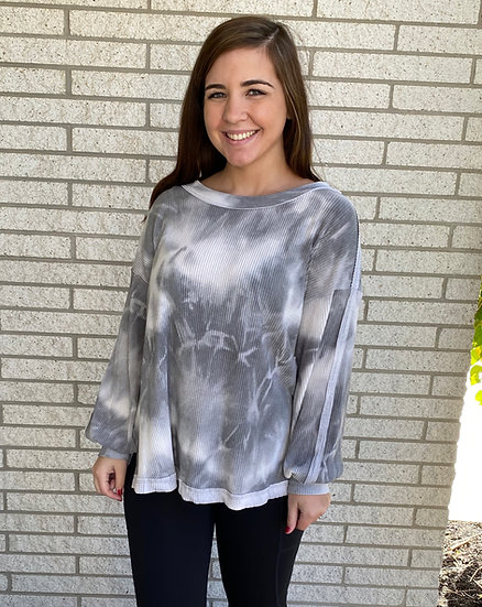 Tie Dye Print Top - Gray/White