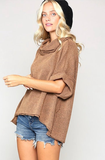 Short Sleeve Cowl Neck Sweater - Camel