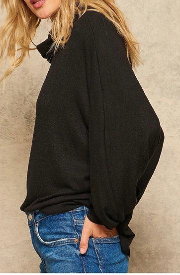 Black Brushed Knit, Loose Turtleneck Sweater