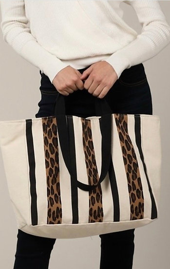 Leopard Print and Stripes Canvas Tote Bag