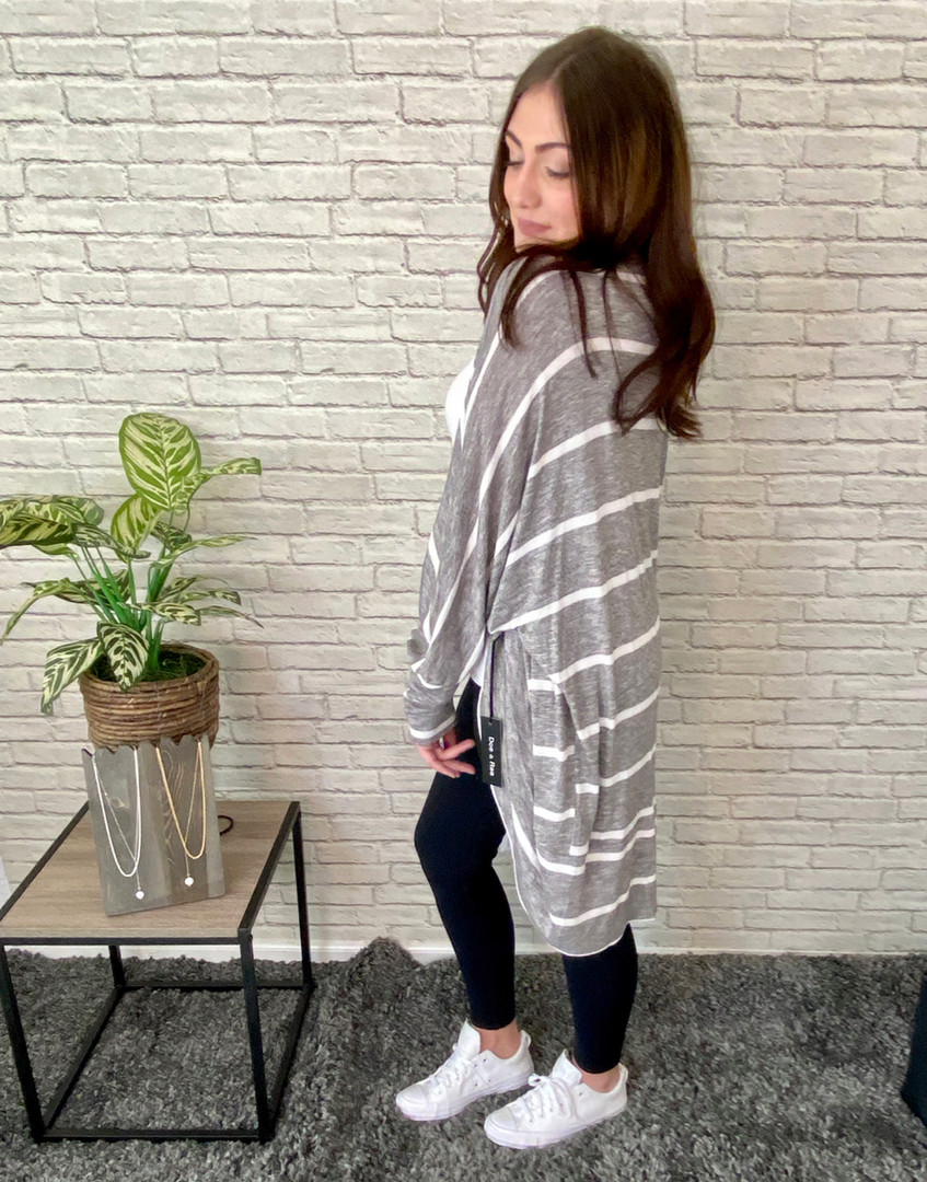Our Dolman Sleeve Striped Cardi paired with our Black Leggings with Side Pockets!