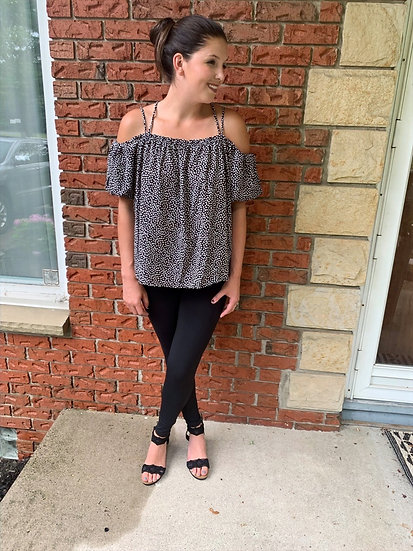 Black and White Off the Shoulder Bubble Sleeve Top