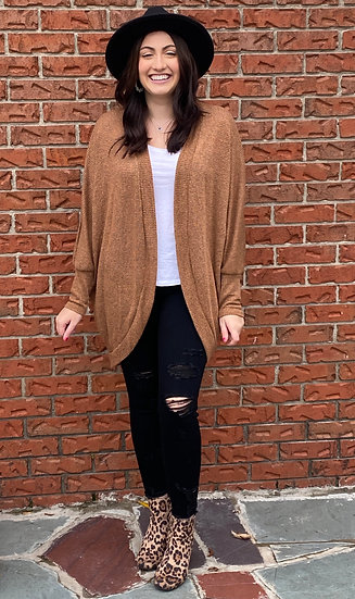 Dolman Sleeve Knitted Cardigan with Curved Hem - Camel