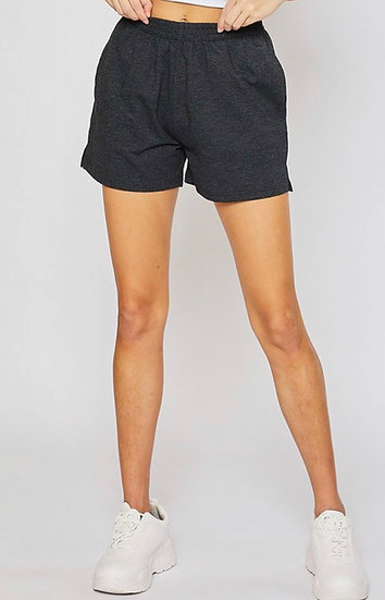 Black Terry Casual Shorts with Pockets