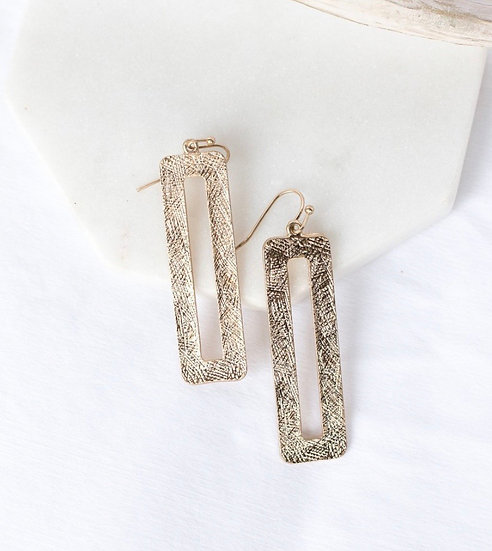 Brushed Gold Tone Rectangle Drop Earrings