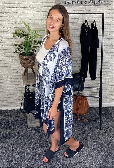 Black and Navy Mandala Kimono with Side Slits