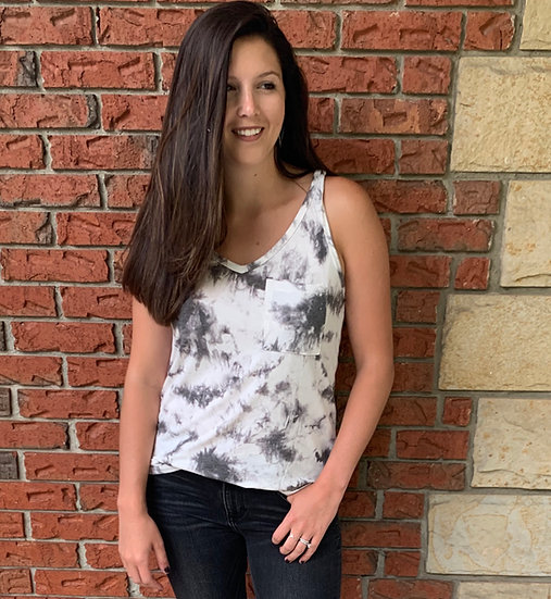 Gray and Ivory Tie-Dye V-Neck Pocket Tank