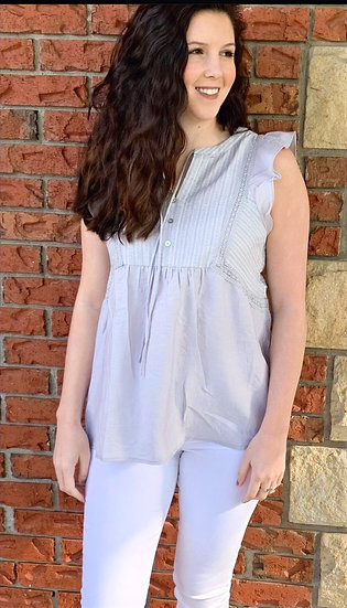 Gray Flutter Sleeve Top With Trim Detail