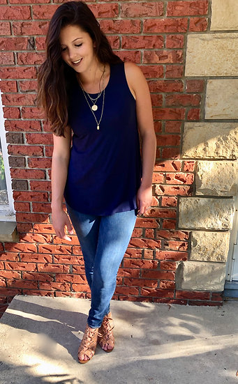 Navy - Round Neck Tank Top