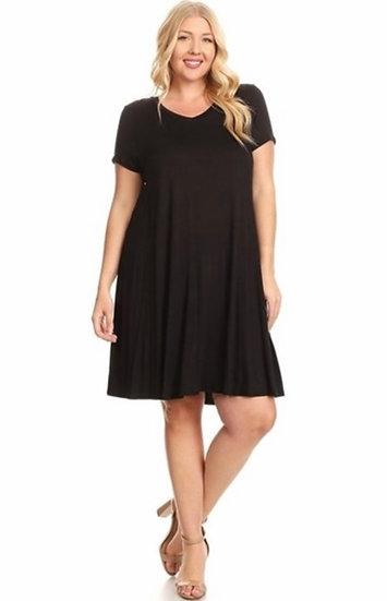 Plus Size Black Dress with Pockets