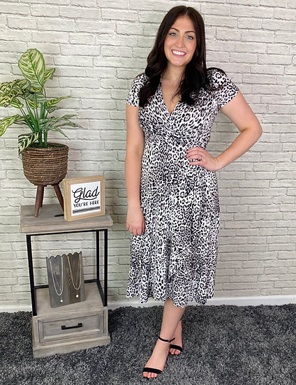 Black and White Leopard Print Faux Wrap Dress - Sizes S - 3X