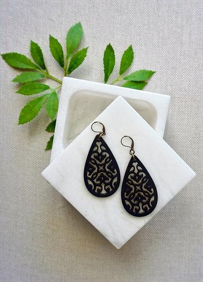 Black Handcrafted Laser Cut Wood Earrings